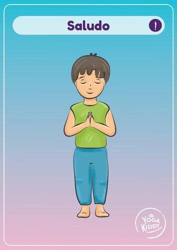 Láminas tamaño grande cartas yoga niños infantil gratis imprimir yogakiddy saludo