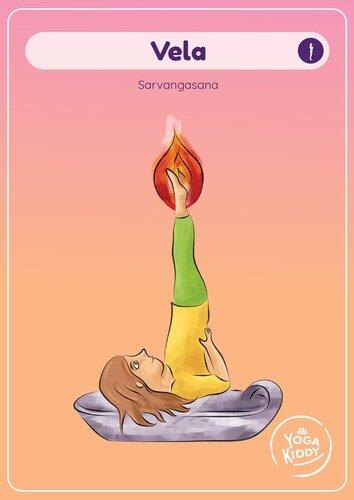 Láminas tamaño grande cartas yoga niños infantil gratis imprimir yogakiddy vela