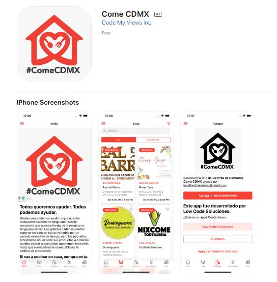 Screenshot of Come CDMX App on the App Store.